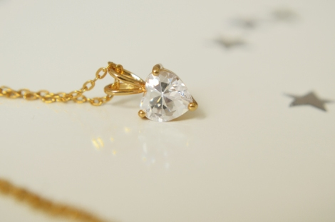 Gold plated heart pendant + necklace 2
